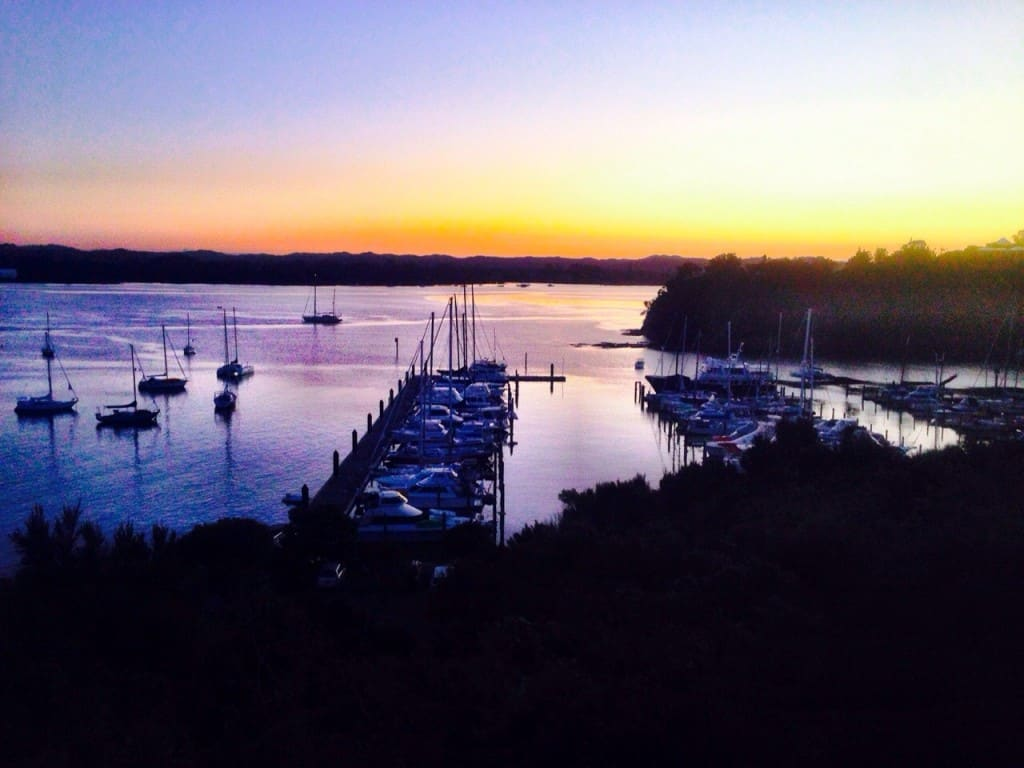 Sunset over Kerikeri Cruising Club's marina - as seen from the clubhouse restaurant.