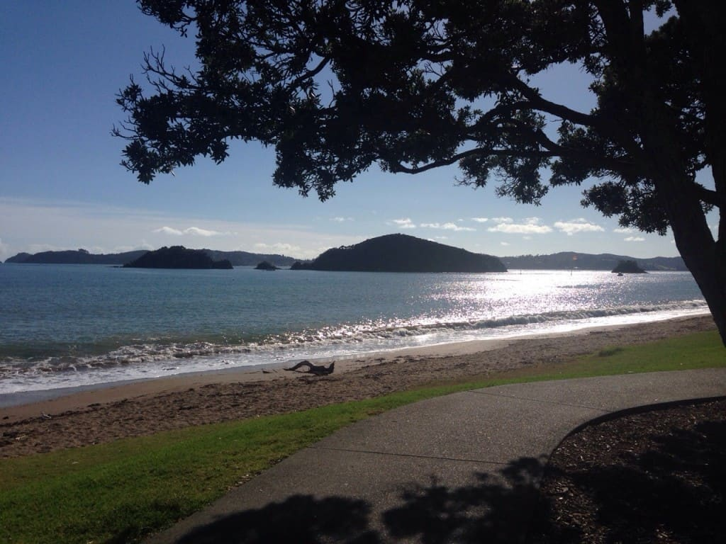 This is the quieter side of Paihia, and it's usually easy to get a parking space next to the beach.