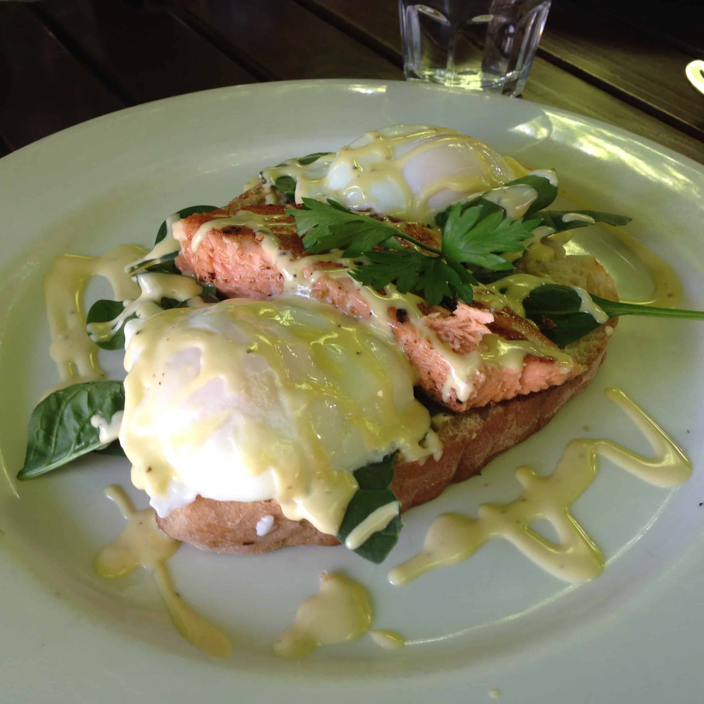 Eggs Benedict at The Village Cafe, Kerikeri.