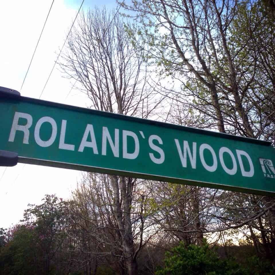 The entrance to Roland's Wood is signposted.