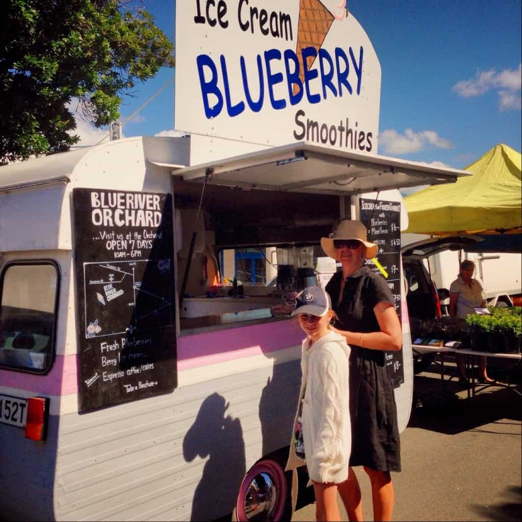 Blueberry ice cream and smoothies at the Bay of Islands Farmers Market in Kerikeri