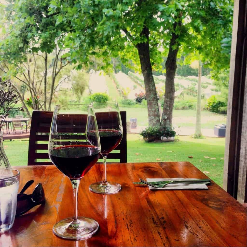 The view from our table at Marsden Estate winery restaurant: between the trees and the grapevines there's a lake, complete with an island in the centre of it!