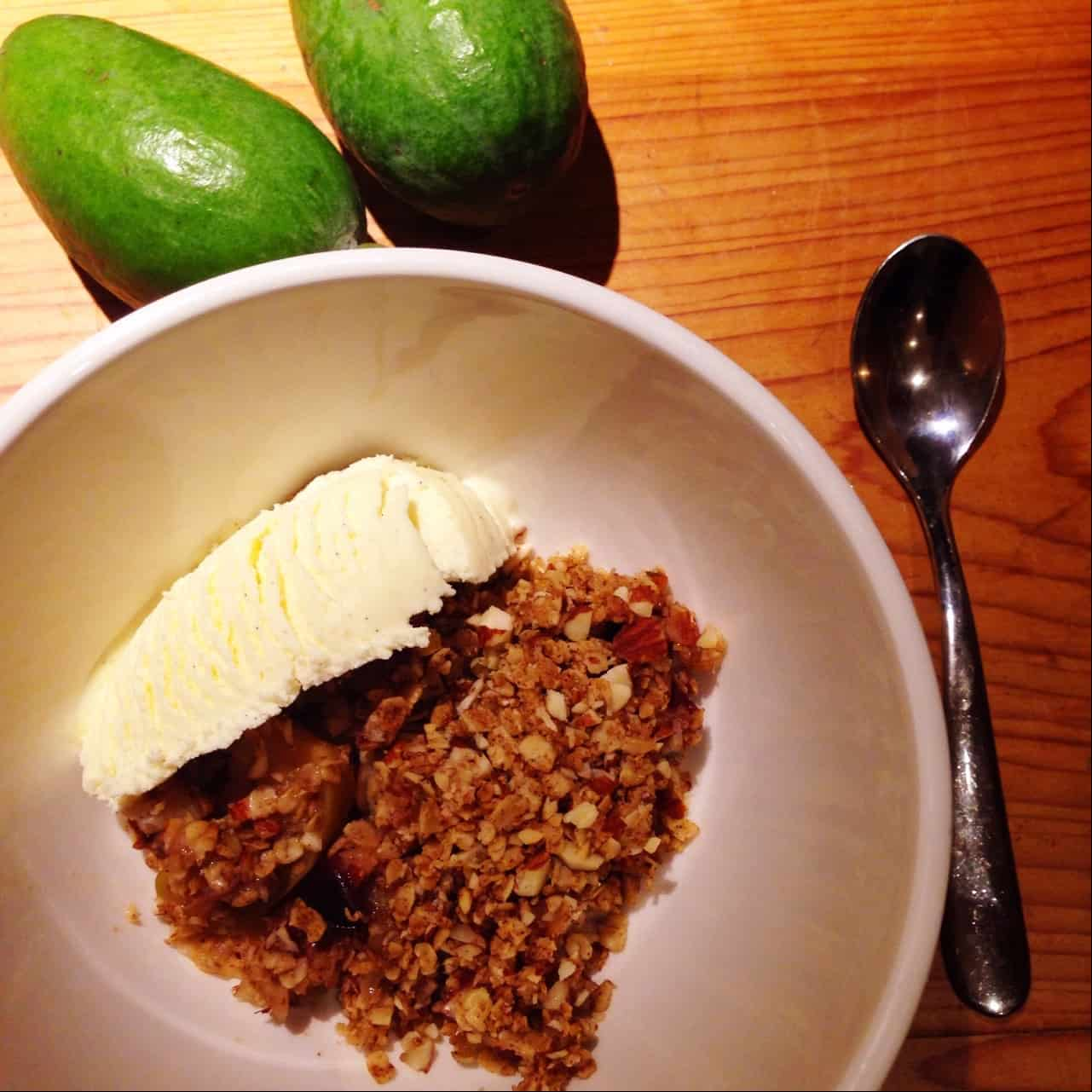 Healthy feijoa crumble - with just a tiny bit of ice cream. Yum!