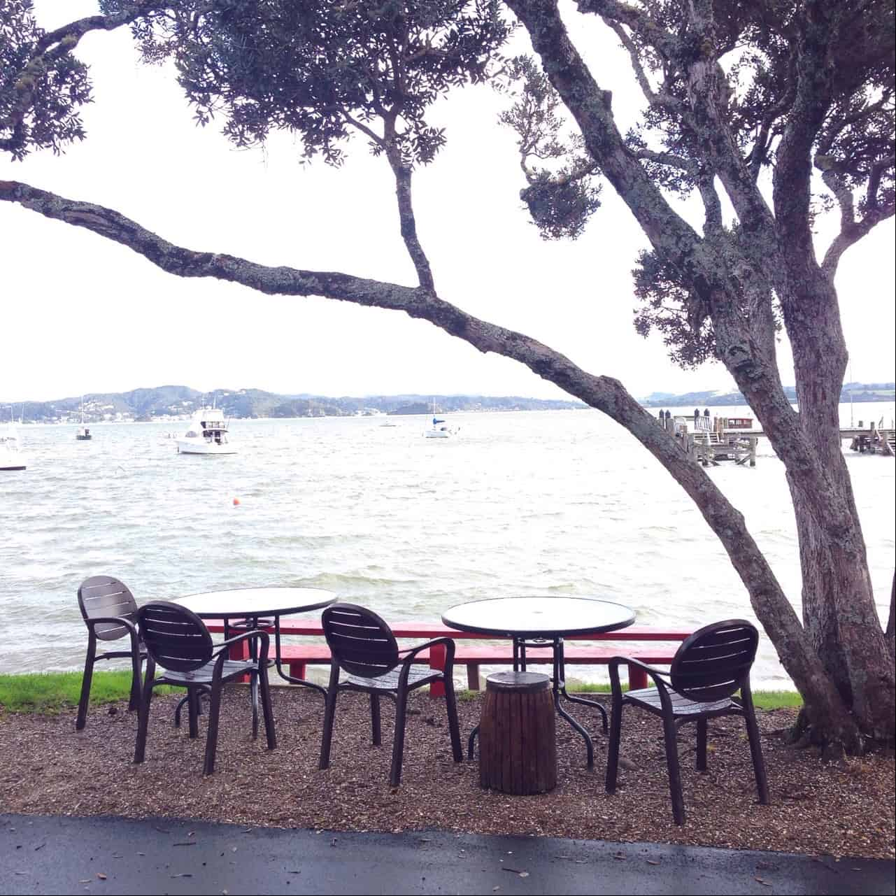 The outside tables at Sally's Restaurant are right on the water's edge, and are glorious (and very popular) in summer.